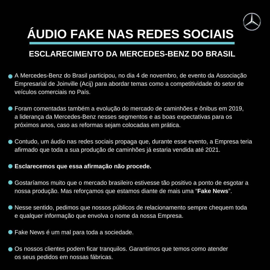 Imagem ilustrativa da notícia: Mercedes-Benz é alvo de fake news